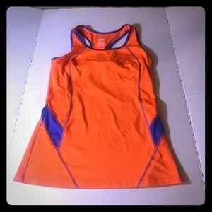 Danskin orange/blue exercise shirt size large